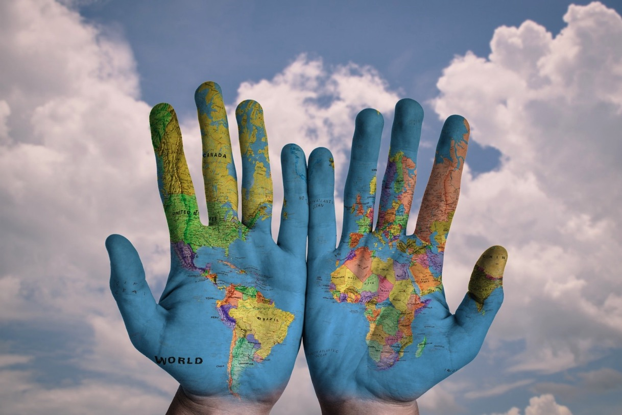 Hands world map global earth globe blue creative