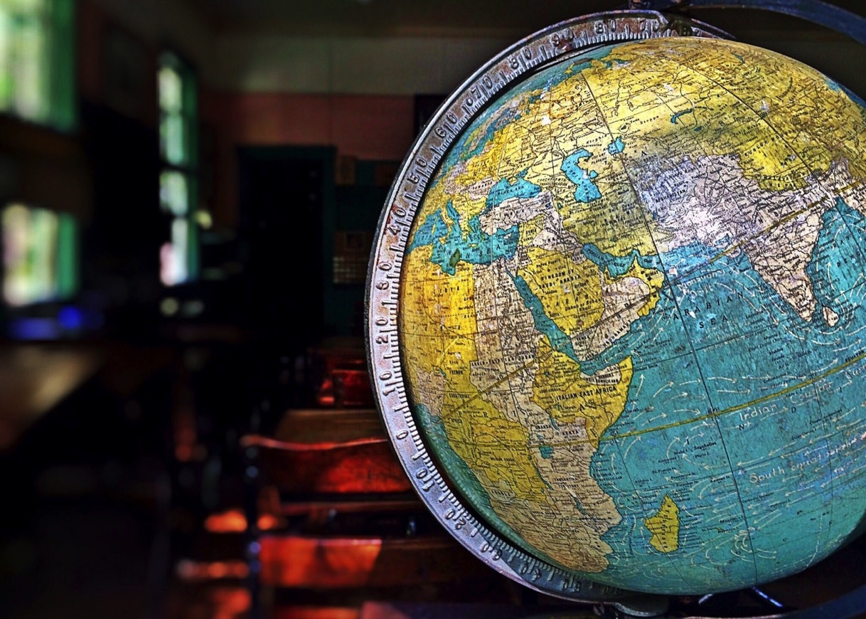 Model of globe in ancient classroom 1